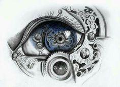 Mechanical eye art print by LaurenMcEwen (steampunk) Steampunk Drawing, Arte Steampunk, Steampunk Witch, Drawing Sketches, Art Drawings, Realistic Eye Drawing, Drawing Eyes, Creation Art, Mechanical Art