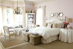 Light pale pink bedroom with burlap and white accents