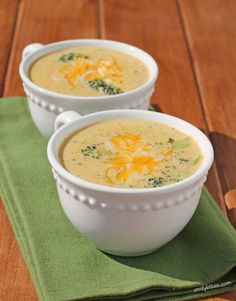 Nothing's better comfort food than a warm, cheesy bowl of Broccoli Cheddar Soup! This tasty skinny version is just 232 calories or 6 Weight Watchers points! www.emilybites.com #healthy