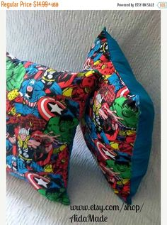 On Sale Avengers Pillow, Marvel Avenger Pillow, Red or Blue Back, Marvel Decorative Pillow, Kids Bedroom, Superhero Pillows, Ironman, Hulk,