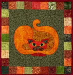 """This is block five of the popular StoryQuilt series, Garden Patch Cats by Helene Knott. The quilt block finishes at 18"""" square. When fall in the air you'll be ready for Helene's Tender Pumpkin Spoon B"""