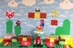 Awesome Super Mario Themed Table And Wall Decor With Cute DIY Mini ...