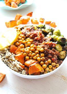 """Healthy Mediterranean Roasted Vegetable """"Power"""" Bowl"""