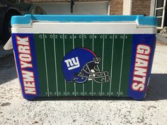 New York Giants Football Field and Helmet Painted Fraternity Cooler