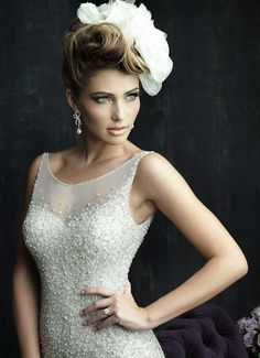 Breathtaking, fully beaded, sweetheart neckline, with straps, mermaid style, amazing wedding gown by Allure Bridal. View 3.