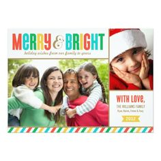 Merry And Bright Holiday Photo Card | Bold Colors Card