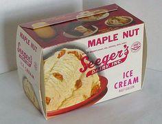 Vintage Seeger's 1/2 Gallon Maple Nut Ice Cream Unused Carton Merrill, Wisconsin #Seegers