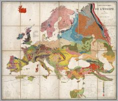 History of geological maps: Andre Dumont's map of Europe.