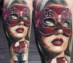 Woman with Mask tattoo by Sasha O Kharin
