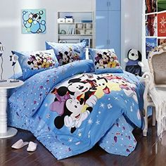 Mickey and Minnie Mouse King Queen Adults Cartoon Bedding Set 4 Pcs Cotton Bed Sheet T14 Family Linens Doona Duvet Cover and 2 Pillowcase