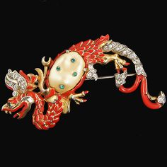 Trifari 'Alfred Philippe' Red Ming Dragon Pin, A. Philippe, 1942