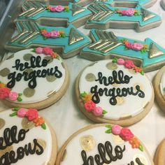 Hello gorgeous and custom golden arrow cookies by Hayleycakes and cookies in Austin tx