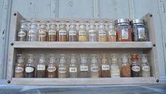 Spice Rack Old Style - Aged White Stain - Sophisticated and Chic