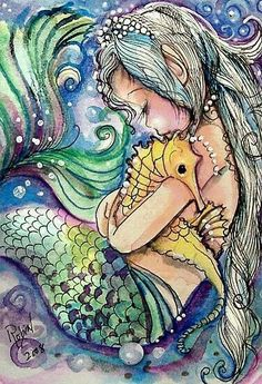 An amazing illustration of a mermaid and a seahorse. my mermaid is going to have a pet seahorse called Hippo. Mermaid Room, Mermaid Art, Watercolor Mermaid, Mermaid Paintings, Mermaid Images, Mermaid Prints, Baby Mermaid, Manga Mermaid, Mermaid Poster