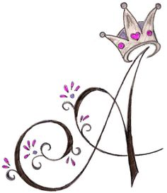 A Initial with Princess Crown Tattoo by ~Metacharis on deviantART-- beautiful letter art Princess Crown Tattoos, Princess Tattoo, Princess Crowns, Tattoo Drawings, Art Drawings, Schrift Tattoos, Tattoos For Daughters, Future Tattoos, Art Sketches
