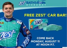 Reminder!!!  Free Zest Car Shaped Soap Bar each day this week starting Monday, August 11 at 3PM eastern the first 200 who sign up.