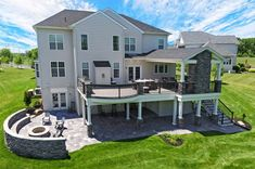 Custom TimberTech Deck in Lansdale, PA patio to side of doors, curved Patio Under Decks, Decks And Porches, Deck Patio, Deck Pergola, Decking, Cool Deck, Diy Deck, Living Pool, Building A Porch