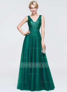 [US$ 149.99] A-Line/Princess V-neck Floor-Length Tulle Prom Dress With Beading Sequins