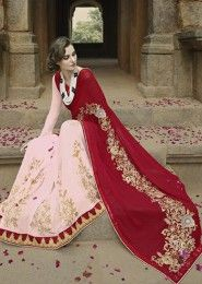 Party Wear Georgette Maroon Embroidered Work Saree
