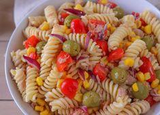 Salade de pâtes au thon et aux œufs durs WW, recette d'une savoureuse salade légère et riche à base de pâtes, de thon, d'œufs, de poivrons, de tomates Top Recipes, Menu, Healthy, Ethnic Recipes, Philippe, Food, Tango, Salads For Dinner, Chopped Salads