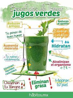 Beneficios de tomar Jugos Verdes... de habitos.mx