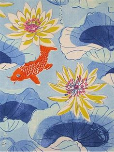 SNS Lotus Lake Cobalt - Waverly Outdoor Fabric for outdoor pillows, seat cushions or upholstery. Resists mildew and fading for 500 direct sunlight hours. Not intended for indoor upholstery Textures Patterns, Print Patterns, Fabric Patterns, Fabric Wallpaper, Pattern Wallpaper, Chinese Fabric, Cool Fabric, Water Lilies, Outdoor Fabric