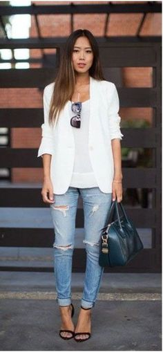White blazer and denim outfit