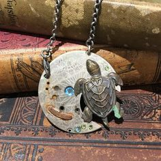 Antique Pocket Watch Plate Necklace with Turtle Charm by The Victorian Magpie