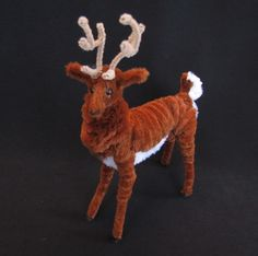 Vintage Brown and White Chenille Pipe Cleaner Reindeer Christmas Decoration | eBay