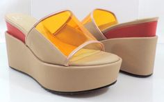 Women's GX by Gwen Stefani AMELIE Slide Platform Wedge Sandals Nude Size 8.5 #GXbyGwenStefani #Slides