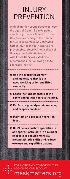 With students hard at work in the classroom, we can't forget that sports season is just around the corner! And with 48 million young people between ages 5 and 18 participating in sports, injuries are bound to happen. Use these 5 tips recommended by Foothills Sports Medicine & Rehabilitation Centers to decrease the risk of injury.