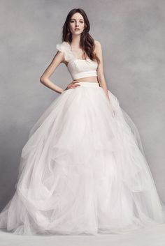 Fancy White by Vera Wang hammered satin side draped dress with asymmetrical neckline and bow detail Love this dress Wedding Ideas Pinterest Satin