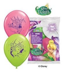 "6 pc 12"" Dsiney Faries Tinkerbell Party Latex Balloons Happy Birthday Fairy"