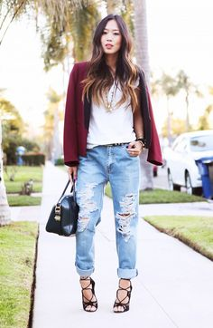 Aimee Song goes for the classic boyfriend jeans and heels duo. // #StreetStyle