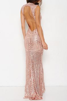 Leading Lady Open Back Sequin Maxi Dress - Rose Gold RESTOCK ARRIVES SOON!