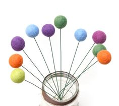 Wool Craspedial Felt Ball Flowers- Customize your Bouquet- Colorful Wedding Decor- Corporate Event Party Table Decoration- Fun Centerpieces