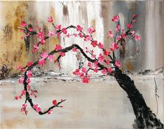 Oringinal abstract art cherry blossom By Khanh Ha by PaintingsbyKHANH on Etsy