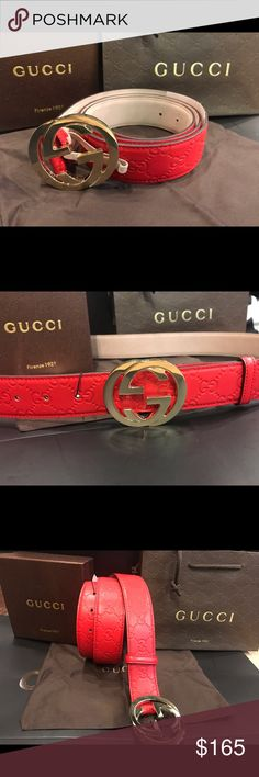 Gucci Red Guccissima Leather Belt GG Silver Buckle Gucci Guccissima Red leather belt. Unisex Interlocking GG (Silver Buckle) This is a brand new belt with tags & comes with box, dust bag and shopping bag. Guarantee 1. Fast shipment 2. Item same as photo 3. Whatever is listed is available 4. Satisfaction guaranteed. **Always receive a great rating if you rate me quick. *** Men's & Womens sizes available. Gucci Accessories Belts