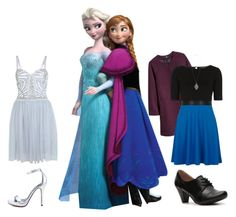 """Anna and Elsa"" by fandomfashionguide ❤ liked on Polyvore featuring Disney, H&M, Dorothy Perkins, Chelsea Crew, Stella & Dot, Miss Selfridge, Michael Antonio, disney, frozen and elsaFrozen"