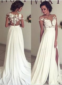 2017 Summer Bohemian Chiffon Wedding Dresses Cheap Sheer Crew Neck Lace Appliques High Spplit Hollow Back Boho Beach Long Bridal Gowns Wedding Dresses Bohemian Bridal Gowns Online with $86.98/Piece on Babyonline's Store | DHgate.com