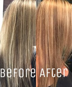 From dark brown base w thin platinum highlights to strawberry blonde base with blended highlights