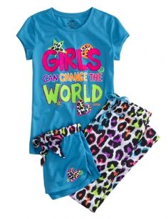 Girls Can Change the World 3-piece Pajama Set Justice Girls Clothes, Justice Pajamas, Justice Clothing, Cute Pjs, Cute Pajamas, Cute Girl Outfits, Kids Outfits, Cool Outfits, Tween Fashion