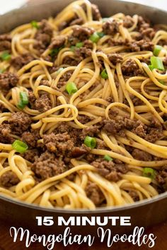 No need for takeout, this Mongolian Noodles recipe is made with ground beef and everyday ingredients. Best of all, it can be ready in just 15 minutes! Mongolian Noodle Recipe, Mongolian Beef Recipes, Pasta Dishes, Food Dishes, Main Dishes, Asian Recipes, Healthy Recipes, Ethnic Recipes, Beef And Noodles