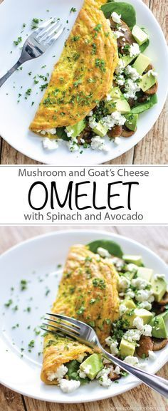 Low carb Mushroom and Goat's Cheese Omelet with Spinach and Avocado is the perfect protein-packed, gluten-free, dairy-free breakfast! Perfect for keto and LCHF. | www.cookingandbee...