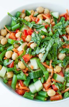 Chickpea Chopped Salad with Basil Vinaigrette Dressing  For the dressing:  1/2 cup avocado oil*, extra to taste 1/4 cup red wine vinegar 2-3 TBSP chopped fresh basil 2 TBSP raw honey 1 TBSP fresh lime juice pinch of salt