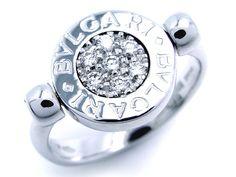 BVLGARI ブルガリ/BB(ブルガリブルガリ) フリップ ダイヤモンド オニキス リング WG ホワイトゴールド #6【大黒屋質店出品】【中古】