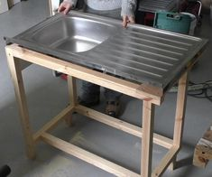 Custom Kitchen Sink Cabinet - In this Instructable I build a custom cabinet for a sit-on sink unit. While I'm installing this s - Kitchen Sink Units, Kitchen Sink Diy, Kitchen Island, Outdoor Sinks, Diy Outdoor Kitchen, Rustic Country Kitchens, Country Kitchen Designs, Country Farmhouse, Farmhouse Decor