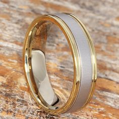 8mm Tungsten Wedding Band Two Tone Design Gold Wedding Band
