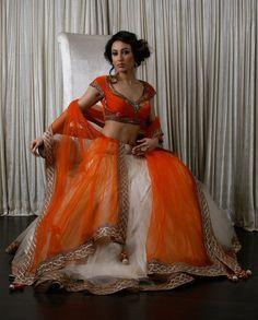 Orange and white lengha
