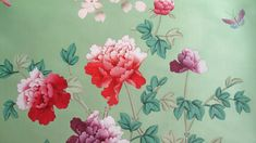 Mandalay Garden (close-up) Hand Painted Wallpaper, Fabric Wallpaper, Wall Wallpaper, Painted Walls, Peony Flower, Flowers, Chinese Wallpaper, How To Install Wallpaper, Chinoiserie Wallpaper